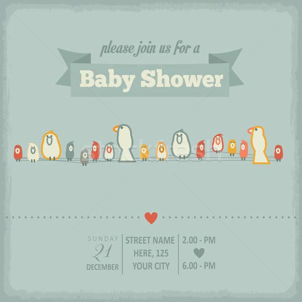 Baba zuhany meghívó retró stílus vektor formátum Stock fotó © balasoiu