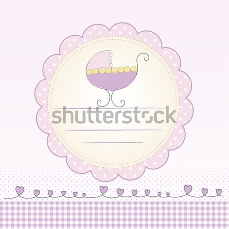 Stock photo: romantic baby girl shower card