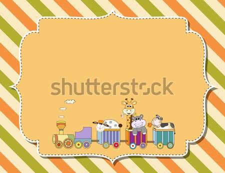 Baba zuhany kártya ajándékdobozok babakocsi boldog Stock fotó © balasoiu