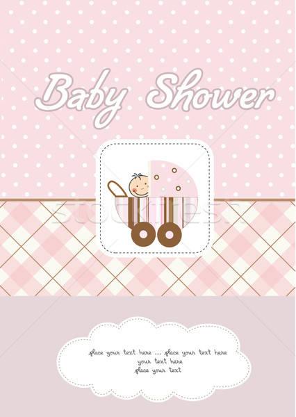 baby girl announcement card Stock photo © balasoiu