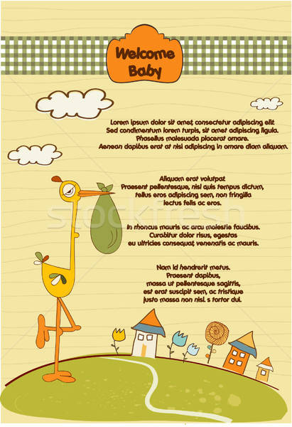 welcome baby card with stork Stock photo © balasoiu