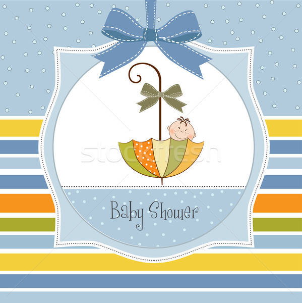 Stock photo: baby shower card with umbrella