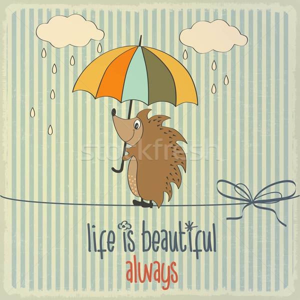Retro illustration with happy hedgehog and phrase 'Life is beaut Stock photo © balasoiu