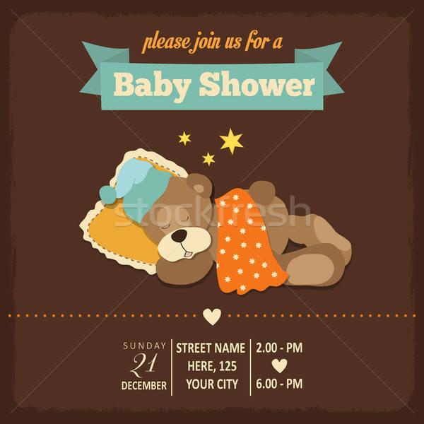 Baby douche uitnodiging retro-stijl vector formaat Stockfoto © balasoiu