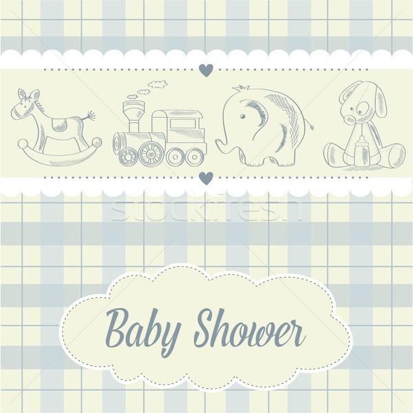 Foto stock: Bebê · menino · chuveiro · cartão · retro · brinquedos