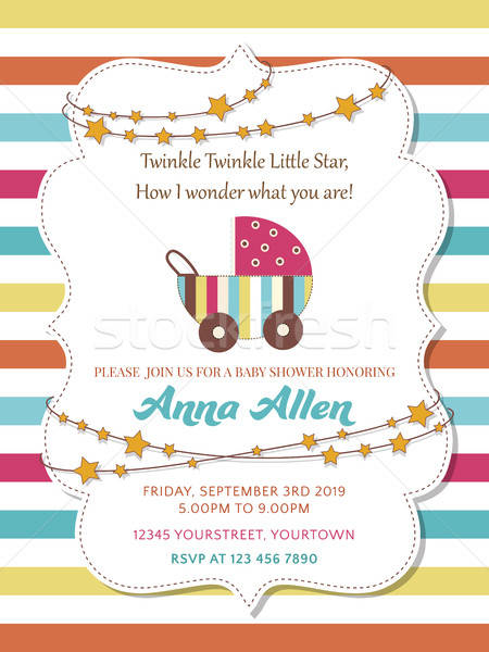 Lovely baby shower card with stroller Stock photo © balasoiu