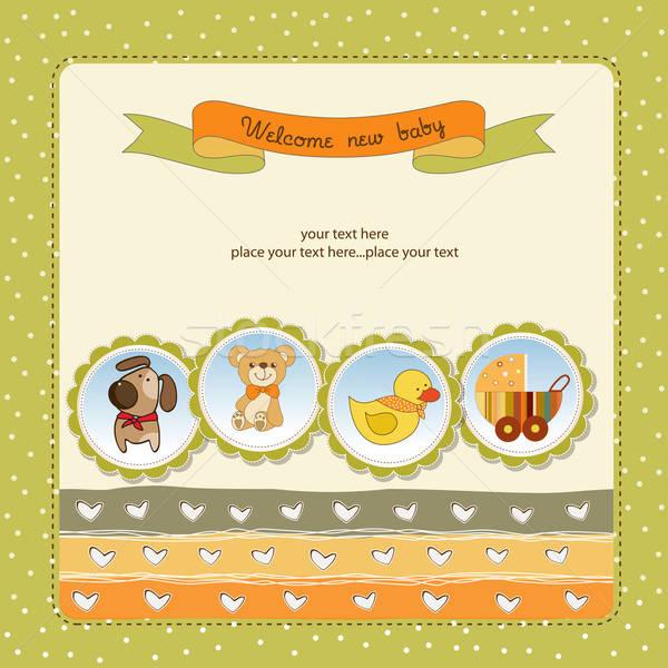 Yeni bebek duyuru kart köpek mutlu Stok fotoğraf © balasoiu