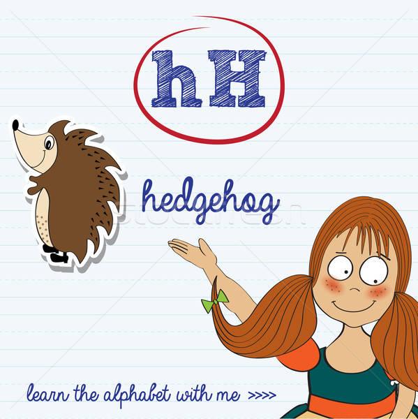 alphabet worksheet of the letter h Stock photo © balasoiu