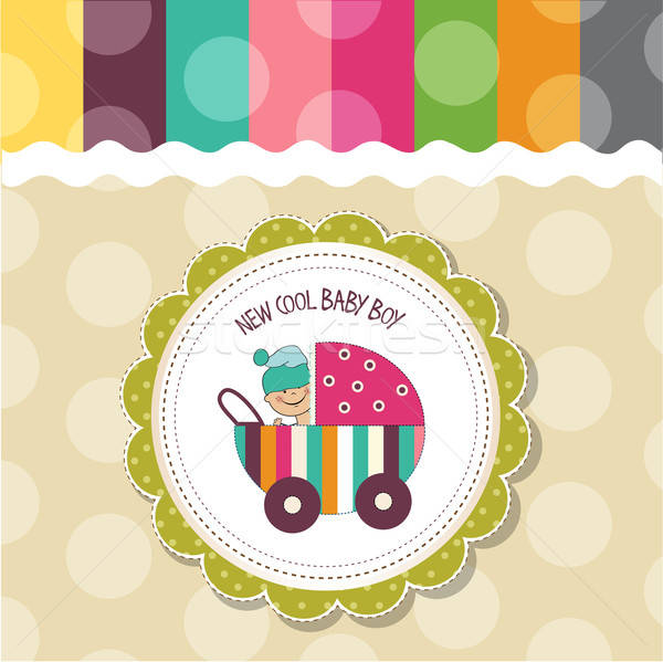 赤ちゃん 少年 シャワー カード ベクトル eps10 ストックフォト © balasoiu