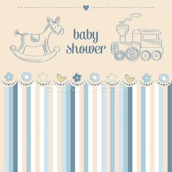 Bebê menino chuveiro cartão abstrato criança Foto stock © balasoiu