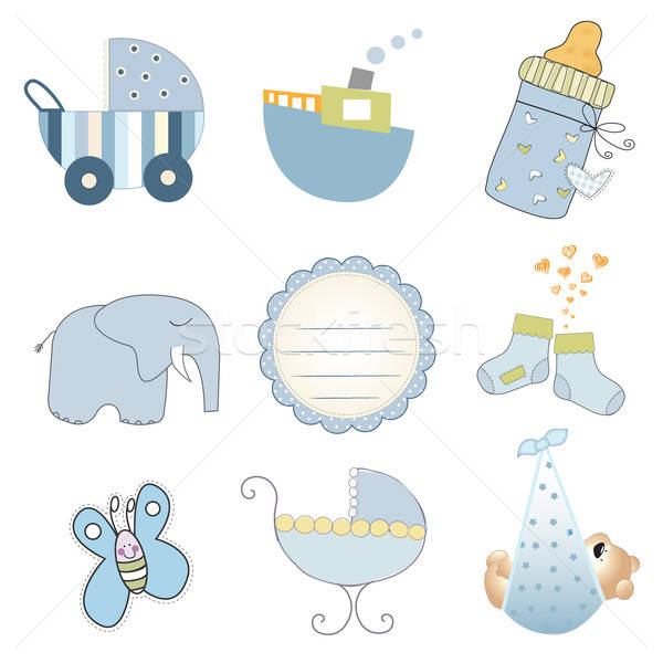 baby boy items set in vector format isolated on white background Stock photo © balasoiu