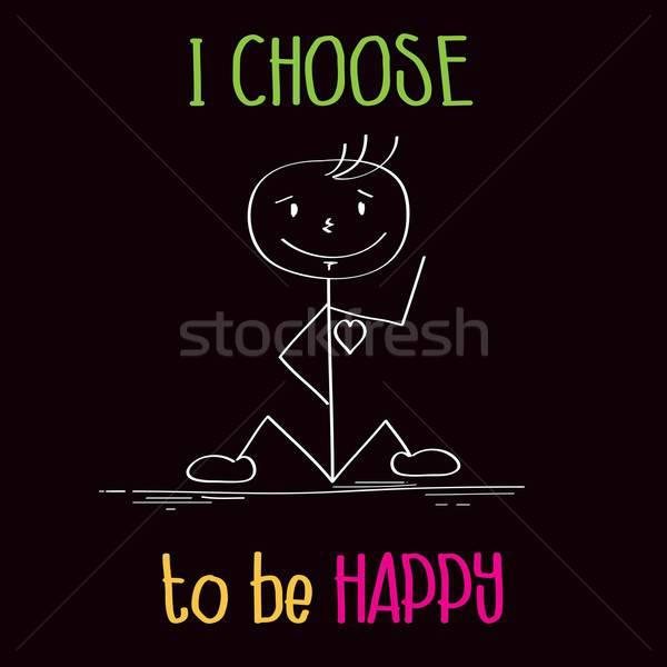 Engraçado ilustração mensagem escolher feliz vetor Foto stock © balasoiu