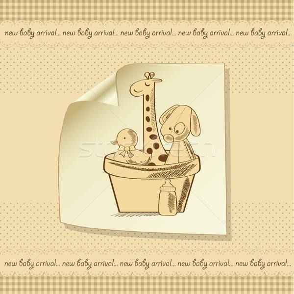 Bebê chuveiro cartão retro brinquedos festa Foto stock © balasoiu