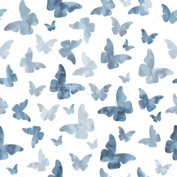 Stock photo: Seamless watercolor gray butterflies pattern
