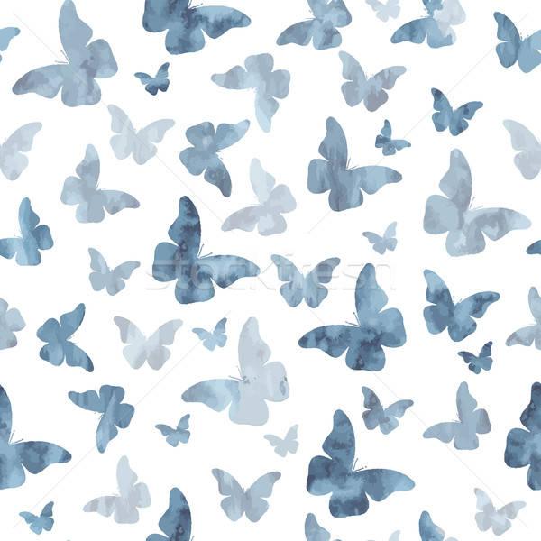 Végtelenített vízfesték szürke pillangók minta textúra Stock fotó © balasoiu
