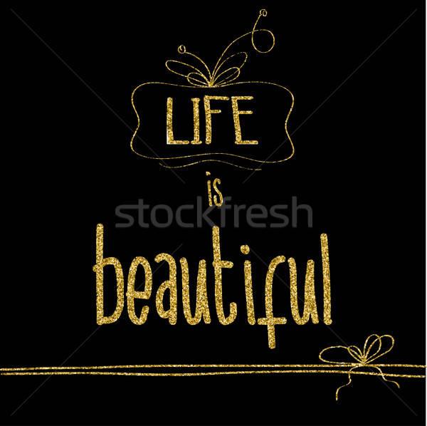 Gyönyörű idézet arany csillogó részletek vektor Stock fotó © balasoiu
