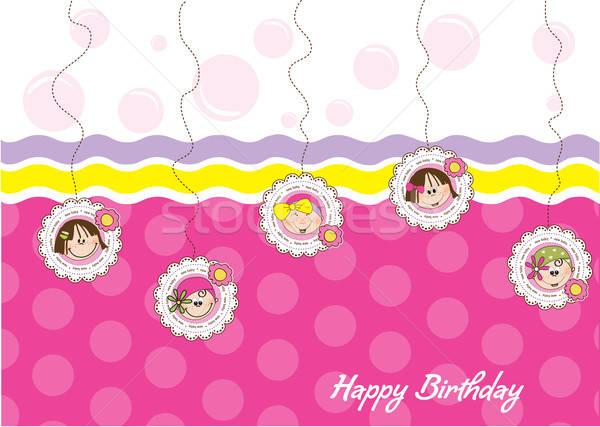 Mutlu yıllar tebrik kartı beş bebek sevmek Stok fotoğraf © balasoiu