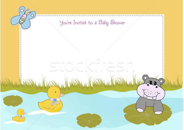 Baby douche aankondiging bloem water meisje Stockfoto © balasoiu