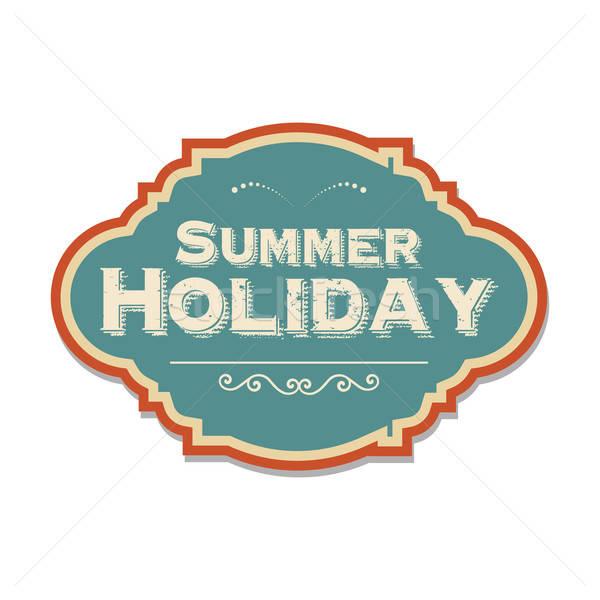 Retro yaz tatili etiket örnek vektör format Stok fotoğraf © balasoiu