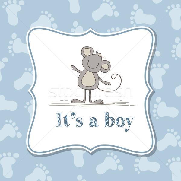 Bebek erkek davetiye duş vektör format Stok fotoğraf © balasoiu