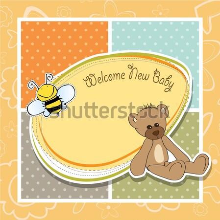 funny baby boy announcement card Stock photo © balasoiu