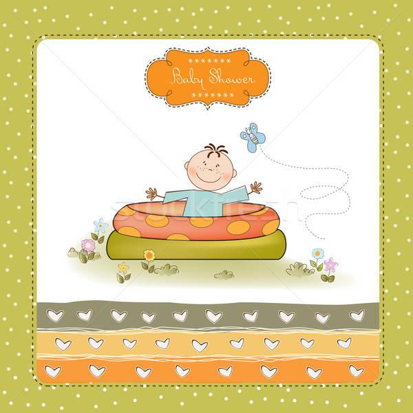 Baby klein zwembad douche aankondiging kaart Stockfoto © balasoiu