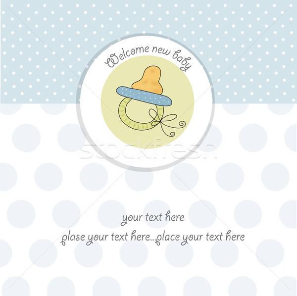 Stock fotó: új · baba · fiú · zuhany · kártya · aranyos