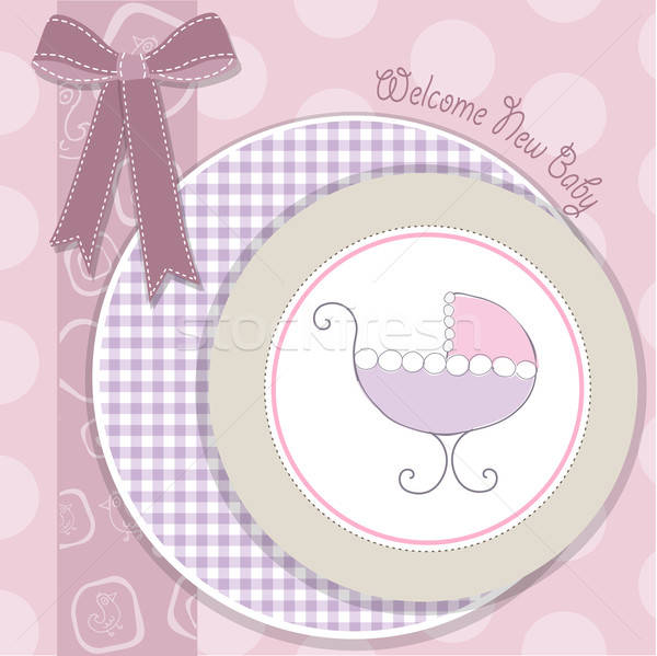 delicate baby girl announcement card Stock photo © balasoiu