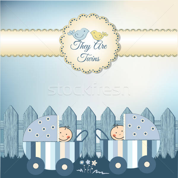twins baby shower invitation Stock photo © balasoiu