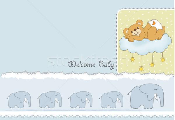 Baba zuhany kártya álmos plüssmaci boldog Stock fotó © balasoiu