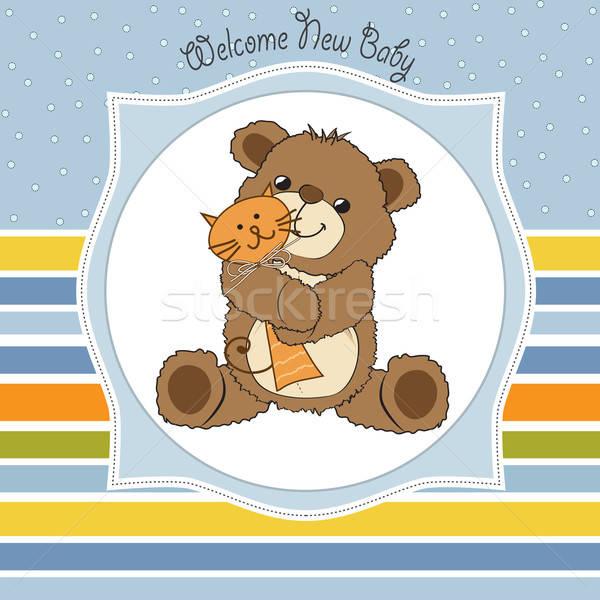 Stockfoto: Baby · douche · kaart · teddybeer · speelgoed · partij