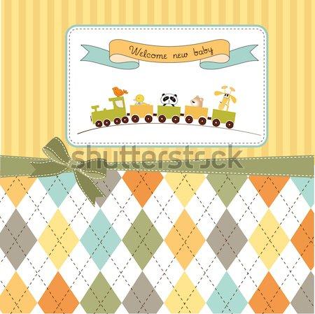 Photo stock: Cute · bébé · douche · carte · moutons · heureux