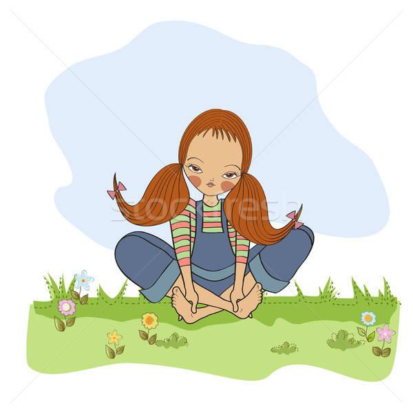 Romantica ragazza seduta a piedi nudi erba donna Foto d'archivio © balasoiu