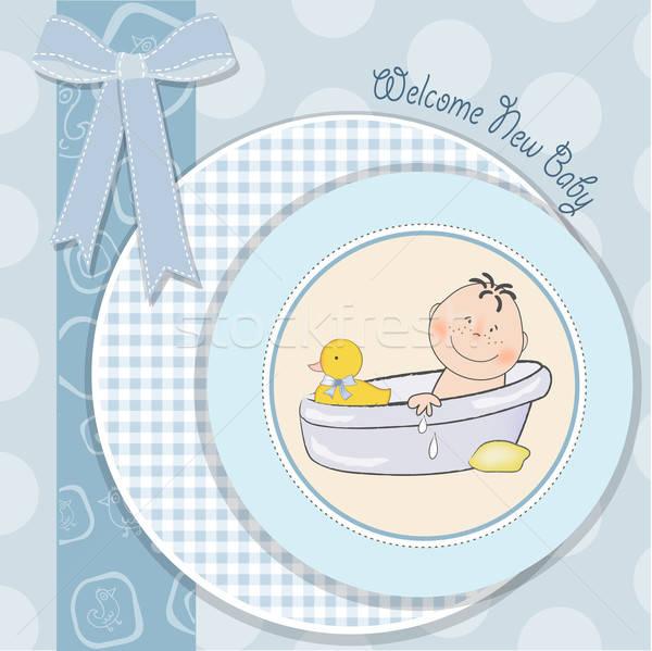赤ちゃん 少年 シャワー カード ベクトル フォーマット ストックフォト © balasoiu
