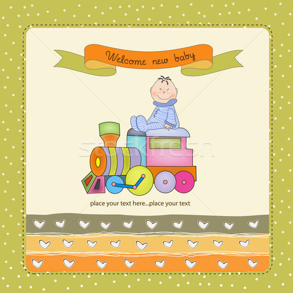 baby  shower card with toy train Stock photo © balasoiu