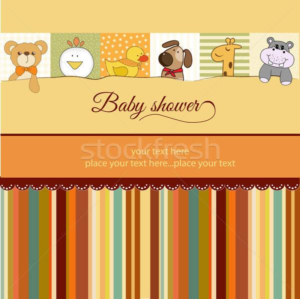 Baby douche aankondiging kaart partij abstract Stockfoto © balasoiu
