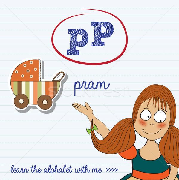 alphabet worksheet of the letter p Stock photo © balasoiu