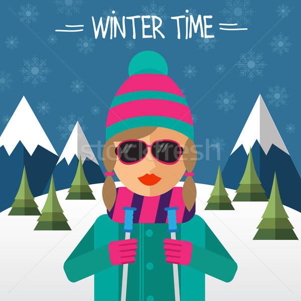 ヒップスター 少女 スキーヤー スタイル 女性 笑顔 ストックフォト © balasoiu