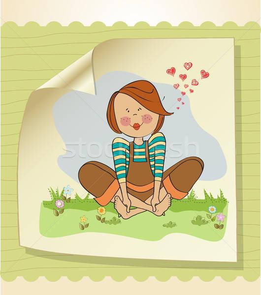 Romantik kız oturma yalınayak çim kadın Stok fotoğraf © balasoiu