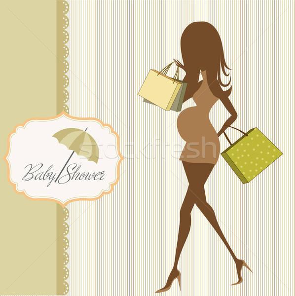 Baby aankondiging kaart mooie zwangere vrouw vrouw Stockfoto © balasoiu