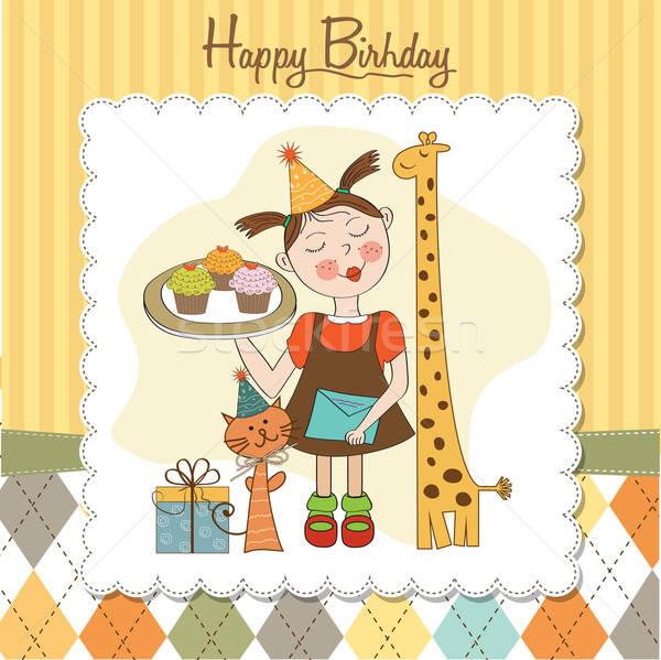 Gelukkige verjaardag kaart grappig meisje dieren Stockfoto © balasoiu