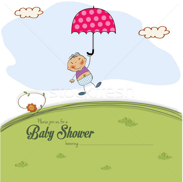 baby shower card with a boy who lands on a meadow Stock photo © balasoiu