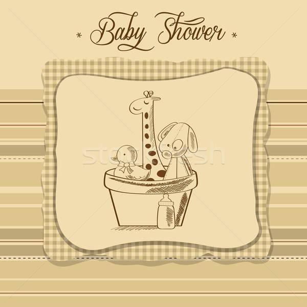 Stok fotoğraf: Bebek · duş · kart · Retro · oyuncaklar · el