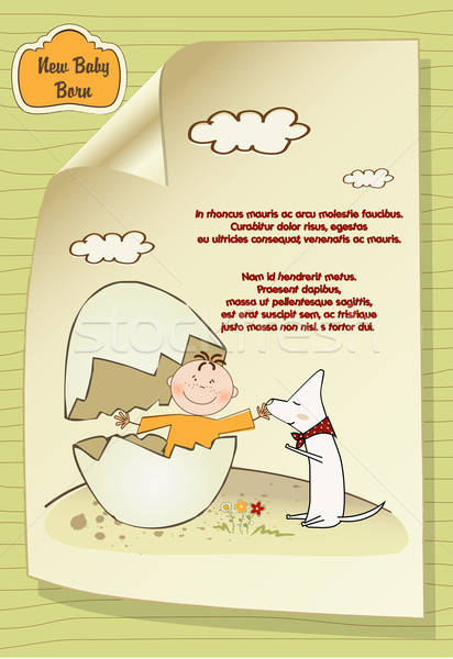 welcome baby card with broken egg ad dog Stock photo © balasoiu
