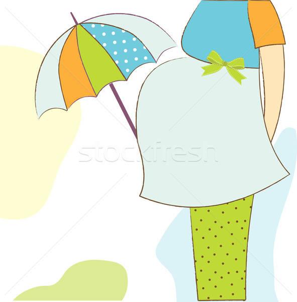 Baba közlemény kártya gyönyörű terhes nő nők Stock fotó © balasoiu