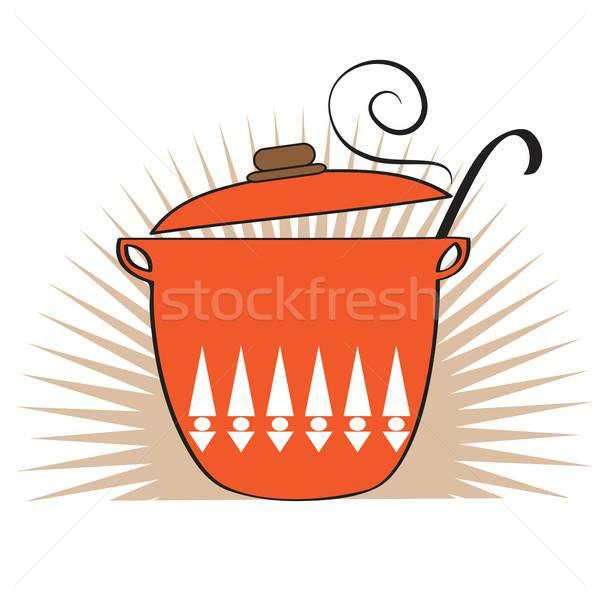 Cooking pan icon Stock photo © balasoiu