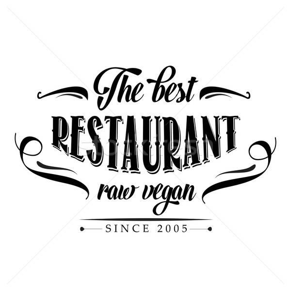 Rétro brut vegan restaurant affiche illustration Photo stock © balasoiu