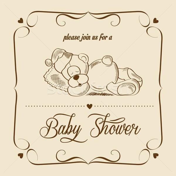Stock photo: baby shower card with retro toy