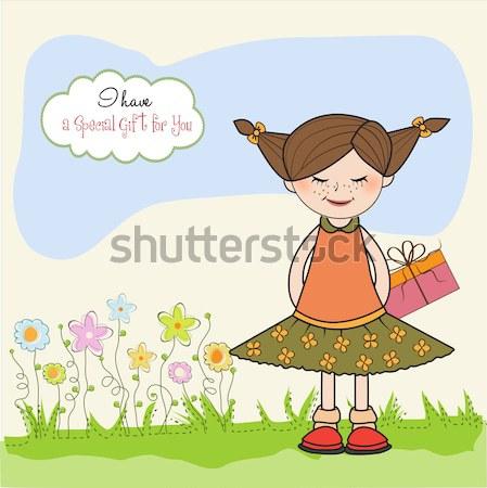 Genç güzel kız yay sevgililer günü kart Stok fotoğraf © balasoiu