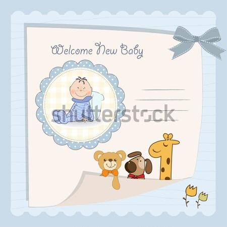 Stok fotoğraf: Yeni · bebek · erkek · duyuru · kart · oyuncak